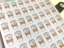 Load image into Gallery viewer, Coffee Cup Planner Stickers, hand drawn coffee icons for takeaway coffee days