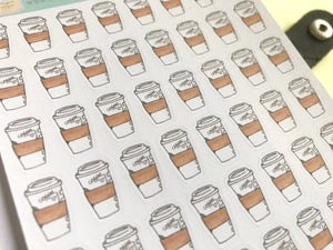 Coffee Cup Planner Stickers, hand drawn coffee icons for takeaway coffee days