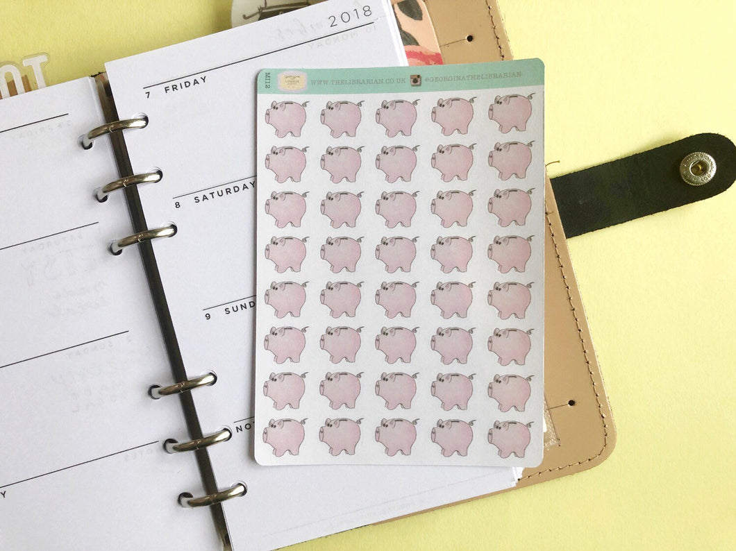 Piggy Bank Savings planner stickers, hand drawn money and finances functional bullet journal label