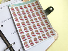 Load image into Gallery viewer, Popcorn planner stickers, hand drawn buckets of popcorn for movie nights and cinema trips