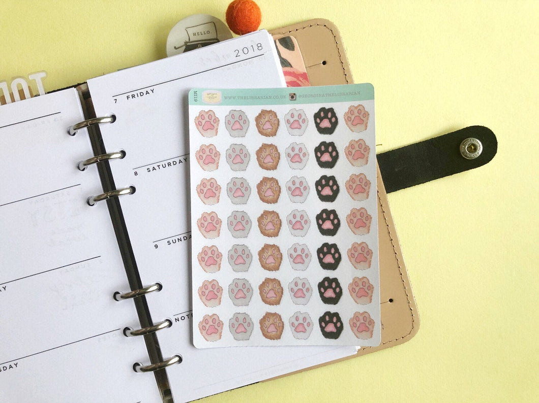Paw Print planner stickers pets cats dogs furry friends functional decorative hand drawn