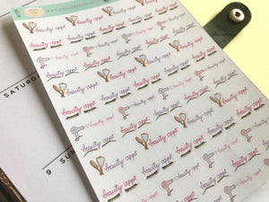 Beauty Appointment Planner Sticker hand drawn and lettered   brow, lash and hair appointments