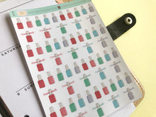 Load image into Gallery viewer, Nail polish planner Sticker hand drawn icons  manicure and self care