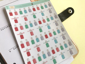 Nail polish planner Sticker hand drawn icons  manicure and self care