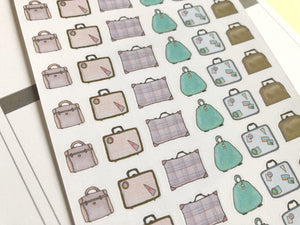 Vintage Suitcase Planner Sticker hand drawn retro suitcases  marking travel and packing