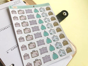 Vintage Suitcase Planner Stickers, hand drawn retro suitcases for marking travel and packing