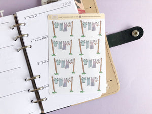Laundry Line planner Stickers, hand drawn washing reminder labels