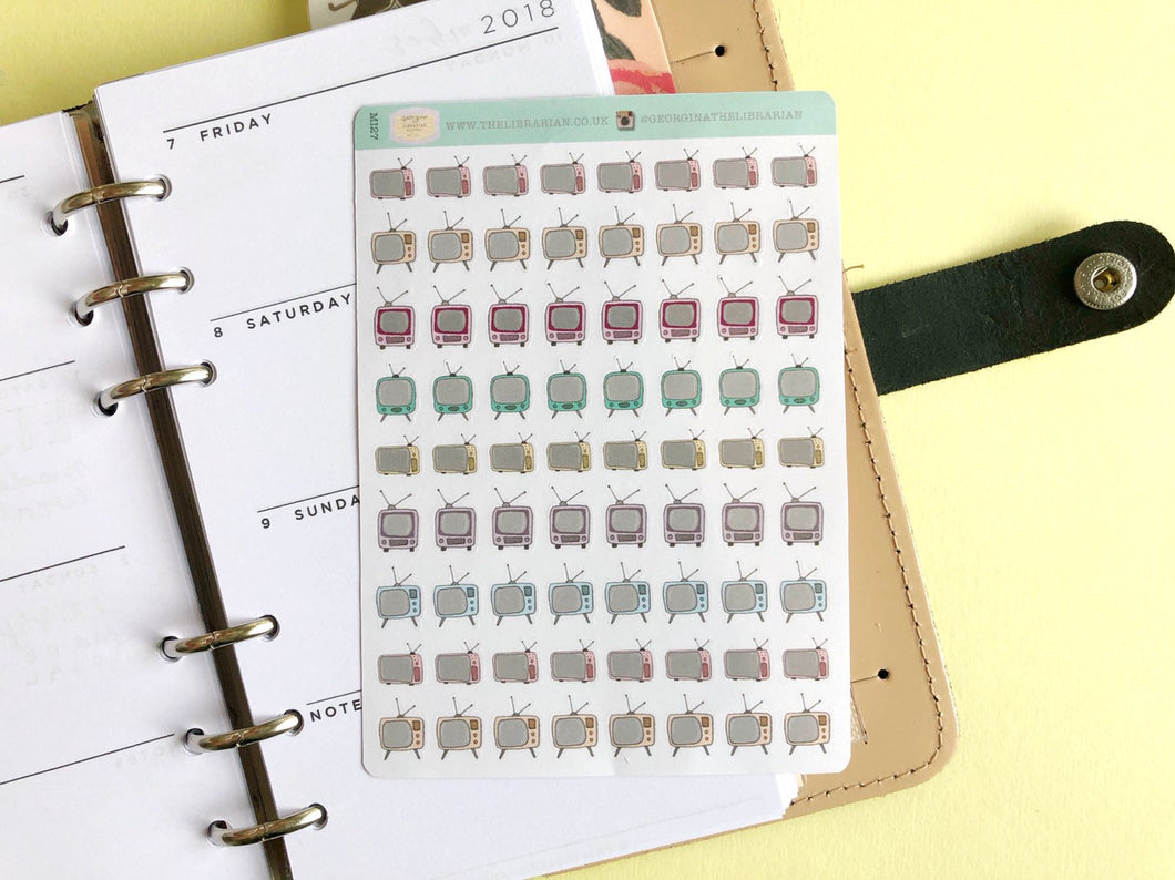 Mini Vintage TV Planner Stickers, hand drawn tiny retro television icons