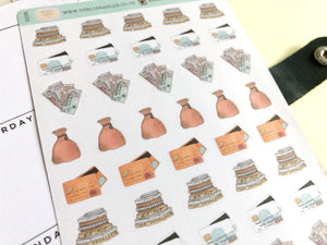 Financial Money Planner stickers hand drawn