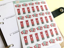 Load image into Gallery viewer, Postbox stamps mail Planner stickers hand drawn
