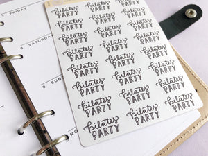 Pilates party script planner stickers lettering monochrome large size hand lettered great for bullet journal