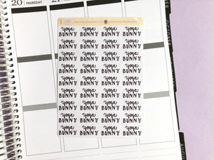 Yoga Bunny script planner stickers lettering monochrome large size hand lettered