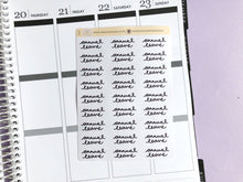 Load image into Gallery viewer, Annual Leave script planner stickers lettering monochrome large size hand lettered great for bullet journal