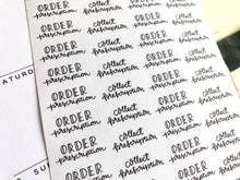Load image into Gallery viewer, Mini Prescriptions script planner stickers hand lettering monochrome large size hand lettered