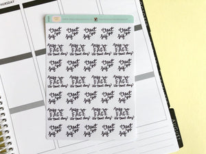Mini Treat day script planner stickers lettering monochrome large size hand lettered