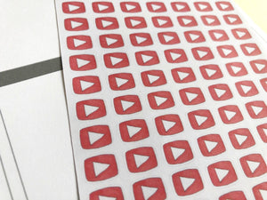 Social Media Hand Drawn Youtube Icon Inspired Life Planner Stickers