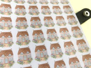 Country Cottage planner stickers, hand drawn cute house labels