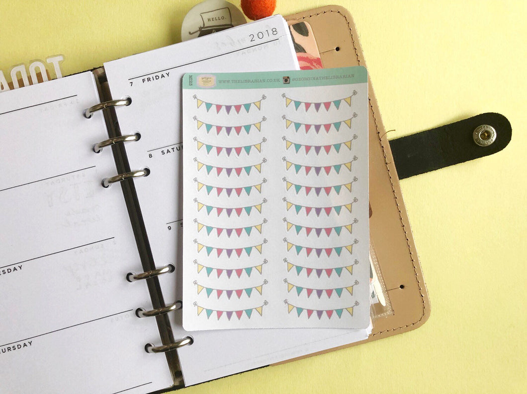 Pastel Bunting Planner Stickers, decorative banner label