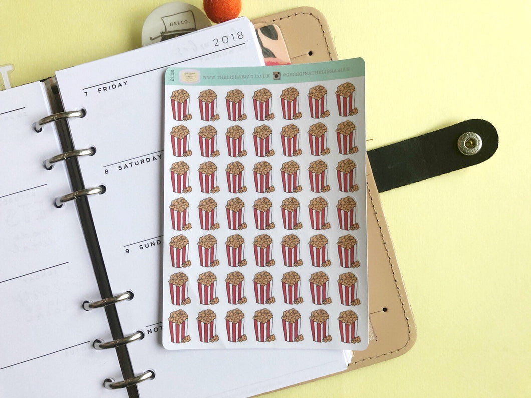 Popcorn planner sticker hand drawn buckets of popcorn  movie nights and cinema trips