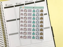 Load image into Gallery viewer, Vintage Suitcase Planner Sticker hand drawn retro suitcases  marking travel and packing