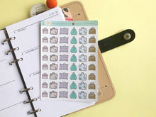 Load image into Gallery viewer, Vintage Suitcase Planner Stickers, hand drawn retro suitcases for marking travel and packing