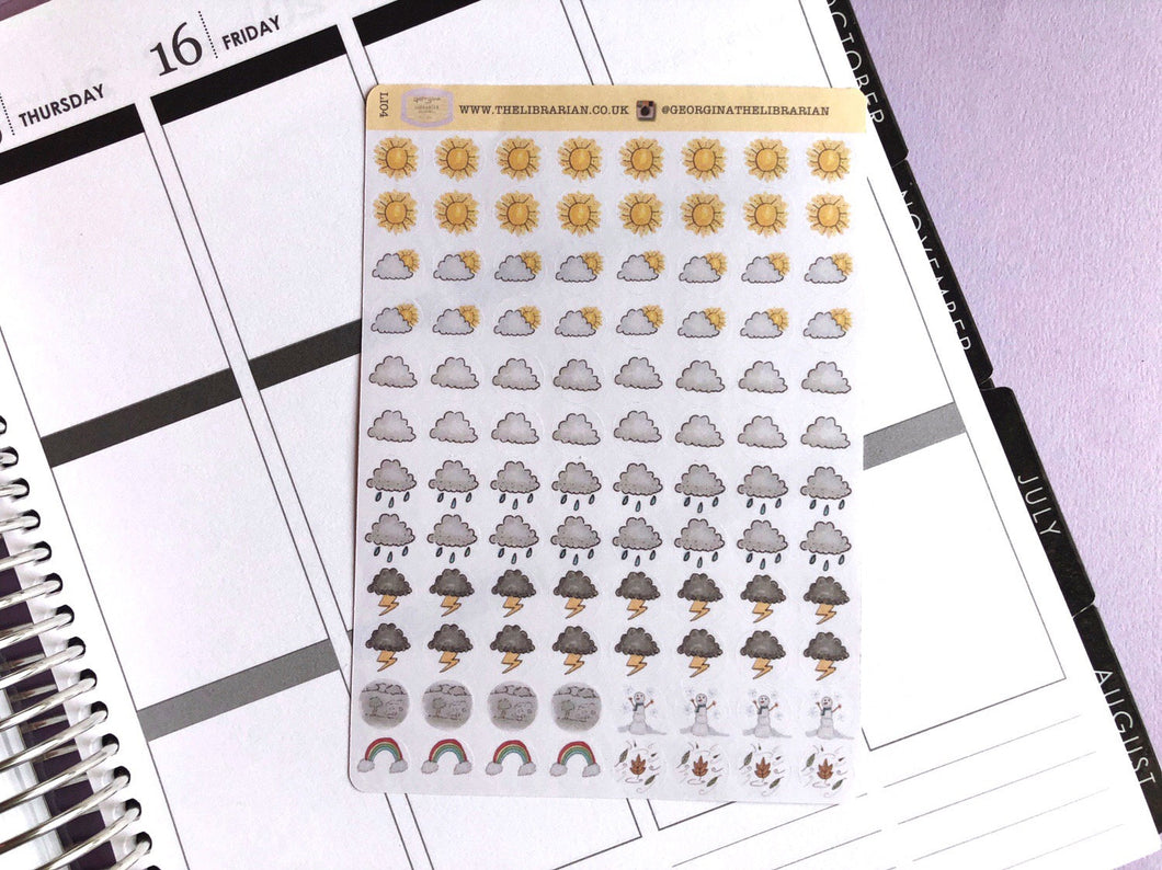 Weather icon Planner Stickers hand drawn decorative labels