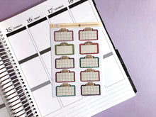 Load image into Gallery viewer, Movie Marquee, Cinema, Film, Movie night  Hand Drawn planner stickers, in jewel tones