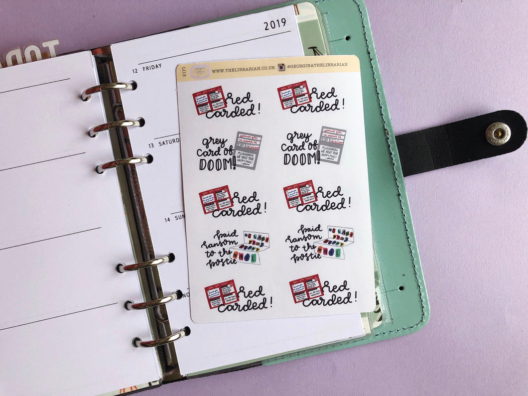 Royal Mail Customs card planner Stickers, hand drawn post parcel collection reminder labels