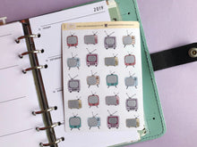 Load image into Gallery viewer, Hand drawn vintage TV life planner stickers, Perfect for Erin Condren, Kikki K, Filofax, bullet journal