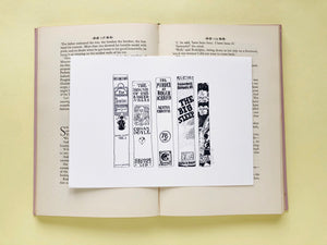 Classic Detectives Novels Book Spine Ink Drawing Art print in Monochrome