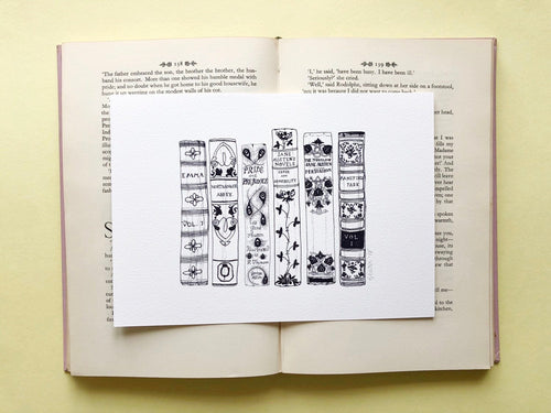 Jane Austen Novels Book Spine Ink Drawing Art print in Monochrome