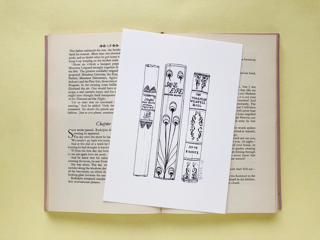 Bronte sisters Novels Book Spine Ink Drawing Art print