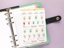 Load image into Gallery viewer, Hand Drawn Beauty Appointment sampler planner stickers, Perfect for Erin Condren, Happy Planner, hobonichi