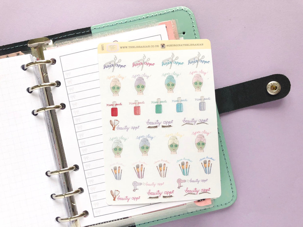 Hand Drawn Beauty Appointment sampler planner stickers, Perfect for Erin Condren, Happy Planner, hobonichi