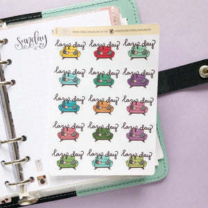 Lazy Day Sofa/Couch Hand Drawn Planner Stickers in bright rainbow colours