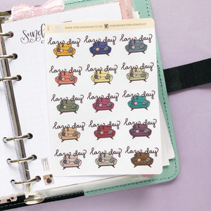 Lazy Day Sofa/Couch Hand Drawn Planner Stickers in dark, warm and cosy colours