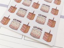 Load image into Gallery viewer, Happy Birthday Cake hand drawn Planner stickers for celebrations and parties in large