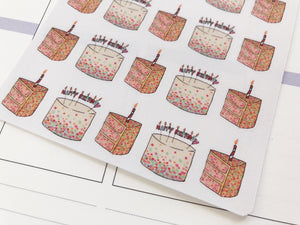 Happy Birthday Cake hand drawn Planner stickers  celebrations and parties in large
