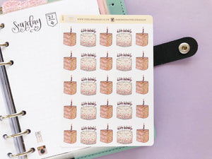 Happy Birthday Cake hand drawn Planner stickers for celebrations and parties in large