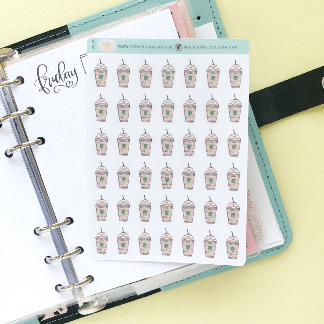 Frapuccino Iced Coffee Hand Drawn Planner Stickers,Perfect for Erin Condren, Happy Planner, Kikki K, Plum Paper, Filofax, inkwell press
