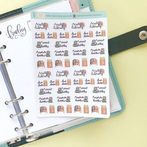 Visit the library Hand Drawn Planner Stickers renew book reserve books small vintage style icons