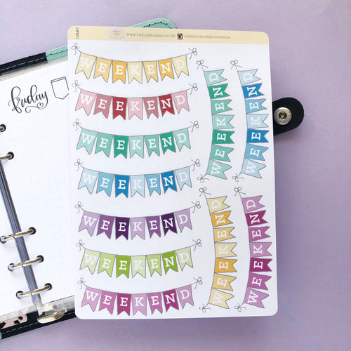 Multi-Coloured Weekend Banner Planner Stickers