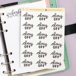 Day off script planner stickers lettering monochrome large size hand lettered great for bullet journal