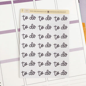 To Do script planner stickers lettering monochrome large size hand lettered