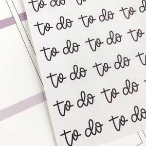 To Do script planner stickers lettering monochrome large size hand lettered great for bullet journal