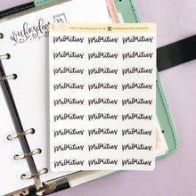 Load image into Gallery viewer, Priorities script planner stickers lettering monochrome large size hand lettered