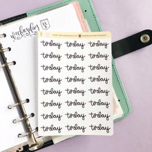 Load image into Gallery viewer, Today script planner stickers lettering monochrome large size hand lettered great for bullet journal