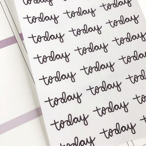 Today script large size hand lettered planner stickers