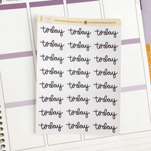 Load image into Gallery viewer, Today script large size hand lettered planner stickers