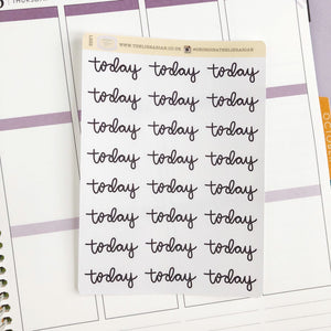 Today script planner stickers lettering monochrome large size hand lettered great for bullet journal